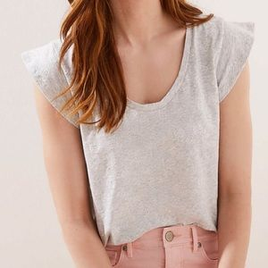Loft Anne Taylor gray top w/ floral overlay